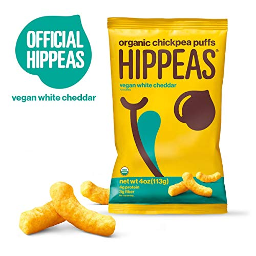 HIPPEAS Organic Chickpea Puffs + Vegan White Cheddar | 4 ounce, 12 count | Vegan, Gluten-Free, Crunchy, Protein Snacks