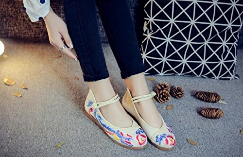 Lazutom Women Lady Chinese Style Vintage Canvas Embroidery Wedge Mary Jane Cheongsam Dancing Shoes White gbS7eq