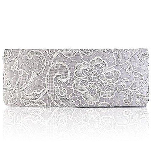 Neuf Femme florale Zarla dentelle de Silver en pochette Étui avec soirée femme mariage soirée pour Satin B6pFABwqH