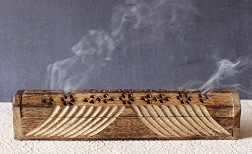 Valentine Day Gifts Wooden Coffin Incense Stick Cone Burner Holder Stand with Storage Compartment Ash Catcher