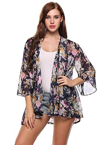 ACEVOG Womens Blouse Kimono Sheer Chiffon Floral Print Loose Cardigan Shawl