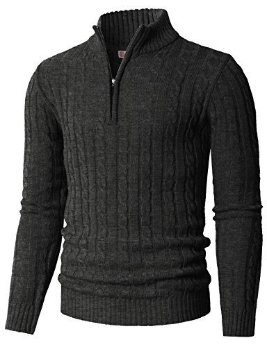 H2H Men's Classic Fleece Zip up Cardigan Collar Sweater Charcoal US S/Asia M (CMOSWL020) -