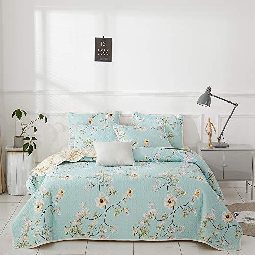 Joyreap 3 Pieces Polyester Quilt Set, Microfiber Summer Quilt, Elegant Flower Design Bedspread, Bed Cover for All Season, 1 Quilt and 2 Pillow Shams (Floral,King)
