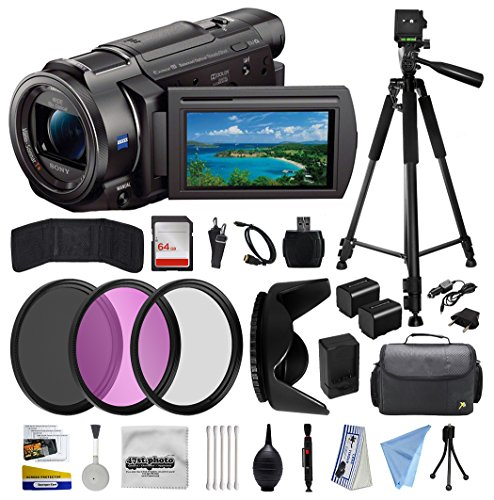 Sony FDR-AX33 4K HD Handycam Camcorder Video Camera + Tripod + SD Card + Filter + Bag + Battery + Starter Beginner Bundle Kit -  47th Street Photo, SNAX33K5