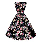 Creazrise Women's Sleeveless Floral Dress Print Bodycon Evening Party Prom Swing Dress with Belt (Black, S)