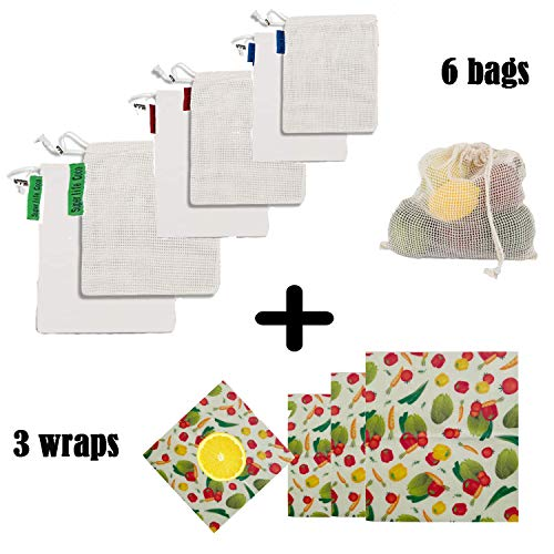 Beeswax Food Wraps + Reusable Produce Bags (9 Pieces) Organic Produce Bag Mesh See-Through Produce Bag Beeswax Wrap Eco-Friendly Organic Sustainable Washable Reusable Mesh Produce Bags Set