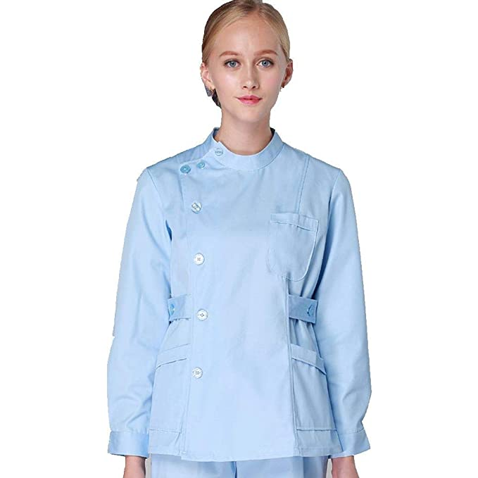 03e424d3f30 QZTG Medical coat Women's Scrub Sets Winter Workwear Nurse Scrub Suits 2  Pieces Button Front Tunic Trousers Solid Color Medical Clothing Tall:  Amazon.co.uk: ...
