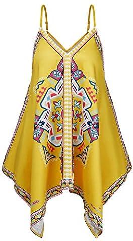PEGGYNCO Women's Yellow V-Neck Tribal Print Sleeveless Irregular Summer Holiday Tank Top - Yarn Fuchsia Plum