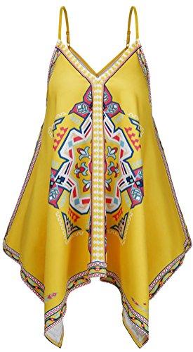 YeeATZ Women Yellow V-Neck Tribal Print Sleeveless Irregular Summer Holiday Tank - Woodlands Market Square