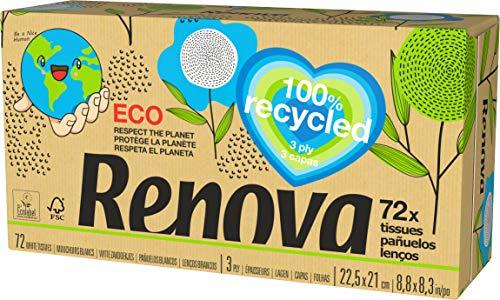 Renova Renova Gezichtsdoeken, doos met 72 zakdoeken, gerecycled papier, FSC-gecertificeerd en Ecolabel