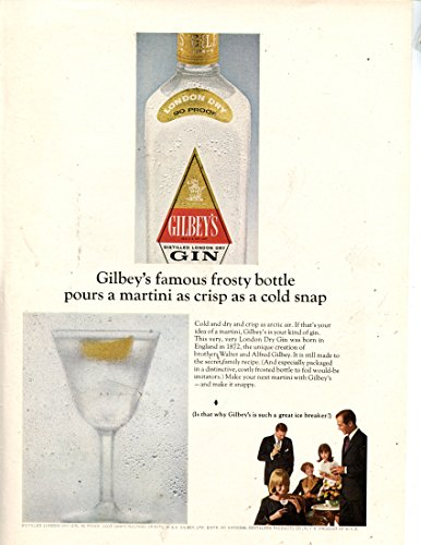 """Gilbey's Gin Vintage Magazine Ad- """"Gilbey's famous frosty bottle pours a martini as crisp as a cold snap"""""""