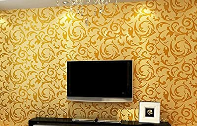 Gold high quality 10 meter (32.8 feet) Damask Victorian Embossed Wallpaper roll (Brilliant Rooms Brand)