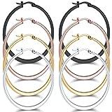 Areke Stainless Steel Hammered Large Hoop Earrings for Women - Round Teardrop Huggie Loops 4 Pairs Sets