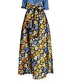 SportsX Women's African Vogue Waist Bow Big Pendulum Dashiki Club Long Skirt 8 3XL