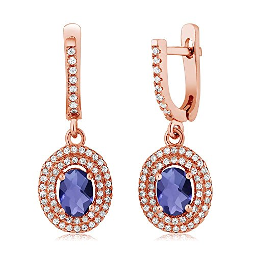 Gem Stone King 2.12 Ct Oval Checkerboard Blue Iolite 925 Rose Gold Plated Silver Earrings ()