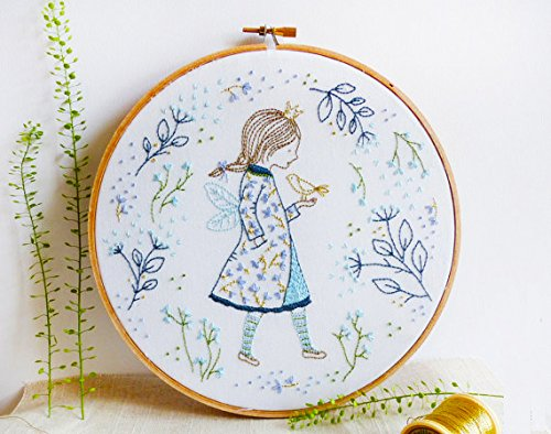 Embroidery Kit for beginners, Gift Set, A Dreaming Girl Design (No Frame)