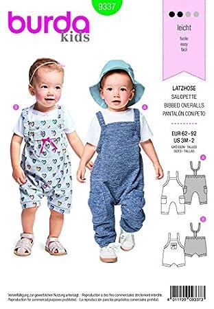 Burda Baby mit Muster für Nähen, insgesamt 9337 Dungarees: Amazon.de ...