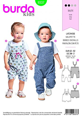 Burda Baby Easy Sewing Pattern 9337 Overall Dungarees: Amazon.co.uk ...