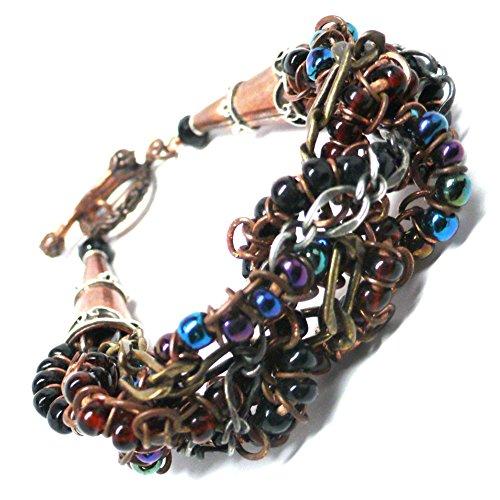 Braided Chain Beaded Cuff Statement Bracelet Copper Brass (Copper Bali Style Toggle Clasp)