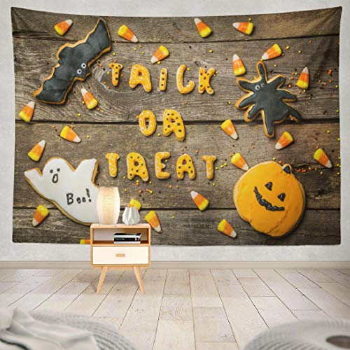 Hdmly Happy Halloween Tapestry Wall Hanging Decor, Decorative Wall Tapestry Halloween with Cookies and Candies Happy Treat 60