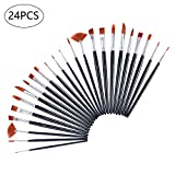 Aolvo 24 PCS Acrylic Tiny Paint Brushes Miniature Paint Brushes Nylon Hair Artist Detail Paint Brushes Set for Art Painting, Watercolor, Oil - Models, Nail Art and Body Painting