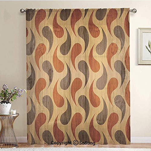 (Abstract Tadpole Patterns Tiling of Wavy Shapes Ornamental Artwork Extra Wide Sheer Window Curtain Panel for Large Window,Sliding Glass Door,Patio Door,1 Panel,102 x 84 Inch,Brown Black)