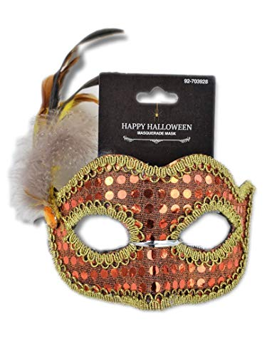 Orange Sequined Masquerade Mask w/Iridescent Feathers and Gold Braid Trim; Party, Costume Ball, New Years Eve, Mardi Gras, Halloween, Harlequin Mask ()