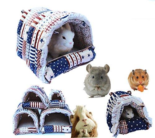 Mkono Cozy Warm Hamster Hammock Hanging Bed House Habitats Cage for Hamster Gerbil Chinchilla M