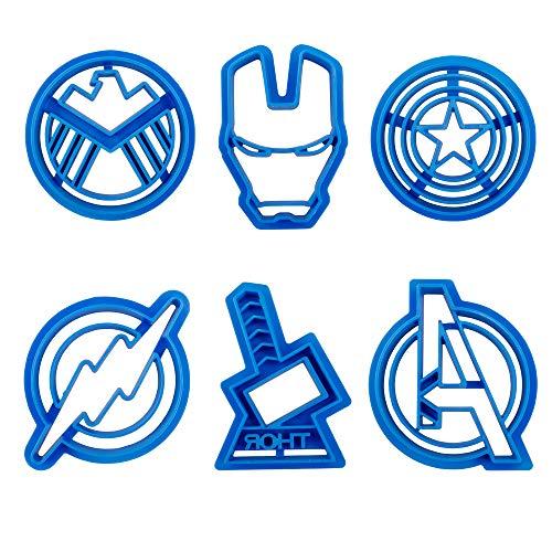 Baking Funny 6pcs Superhero Captain America Biscuit Cutter Cookie Stamp Sugar Cake Stamp Cut Cookie Cutters