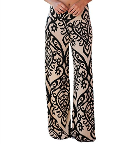LOSRLY Women Wide Leg High Fold Over Waist Printed Boho Palazzo Pants Plus Size-Taupe XXL 20 22