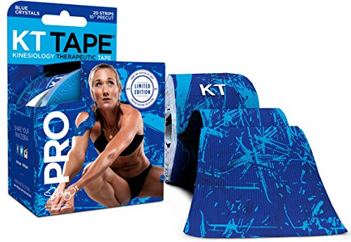 KT Tape Pro Kinesiology Therapeutic Sports Tape, 20 Precut 10 inch Strips, Latex Free, Water Resistance, Pro & Olympic Choice, Blue Ice Crystals ()