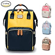 Diaper Bag Backpack in Large Capacity Multi-Function Waterproof Lightweight Mommy Nappy Bag Nursing Bag for Outside Activities, Travel, In 12 Assorted Colours (Yello and Navy blue)