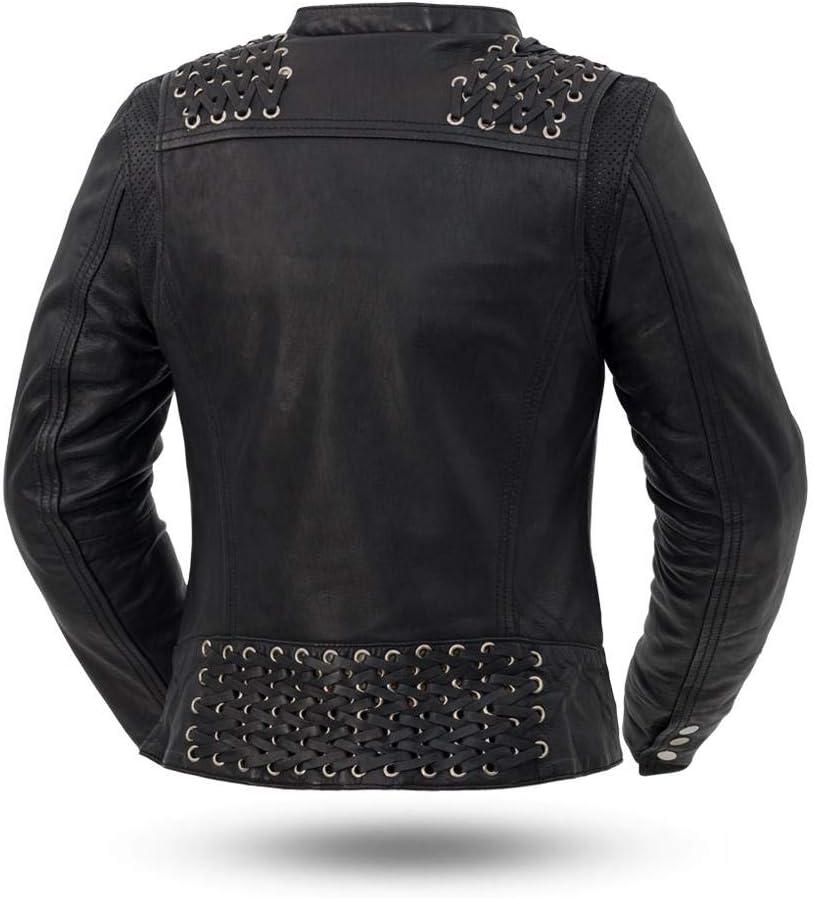 - Black Widow Black, Medium Womens Leather Motorcycle Jacket First MFG Co