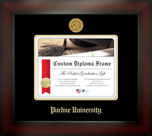 Purdue University Seal - Purdue University 7.625 x 9.625 Mahogany Finish Infinity Diploma Frame by Celebration Frames