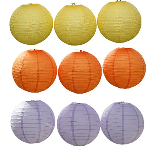 YueLian 9 Sets Chinese Party Accessory Decorative Paper Lanterns (24'')