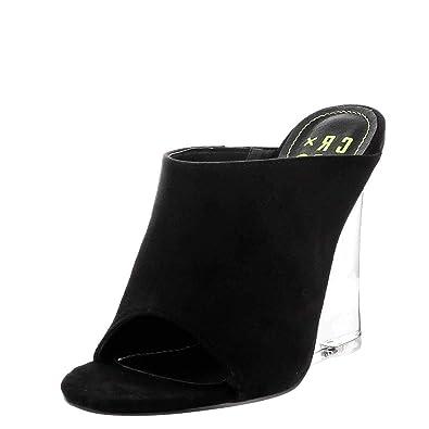 e052d0d5da53 CAPE ROBBIN Womens Open Toe Clear Transparent Lucite Wedge Heel Mules Pump Sandals  Shoes 6.5 Clear