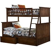 Nantucket Bunk Bed with 2 Raised Panel Bed Drawers, Twin Over Full, Antique Walnut