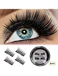 LEDitBe Magnetic False Eyelashes, 3D Black Dual Magnetic, Ultra Thick Ultra Solf and Long for Entire Eyes, Glamorous, Natural Look, Handmade Reusable Eyelashes 1Pair/4Pcs (Black)