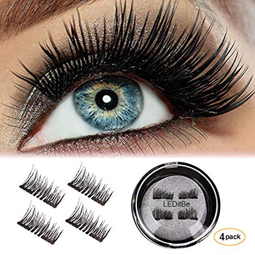 LEDitBe 3D Black Dual Magnetic, Magnetic False Eyelashes, Ultra Thick Ultra Solf and Long for Entire Eyes, Glamorous, Natural Look, Handmade Reusable Eyelashes 1Pair/4PCS (Black)