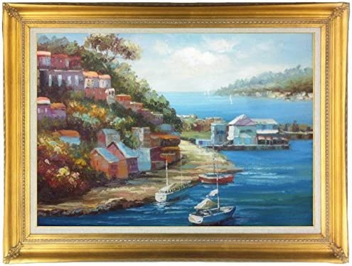Amazon Com Classic Original Oil Painting Of Mediterranean Sea With Boats A Dock 24 X 36 Framed Classic Gold 44 1 4 X 32 1 4 Other Frame Options Available Paintings