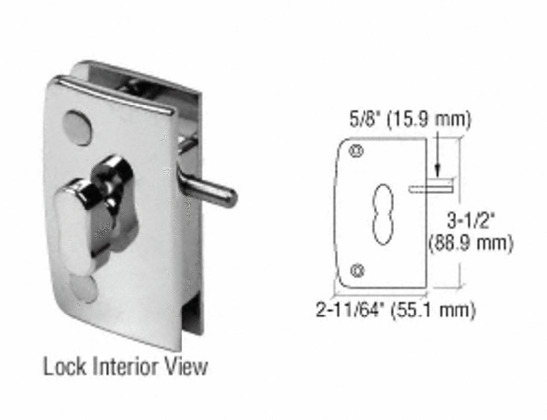 CRL Brushed Nickel Swinging Glass Door Lock with Indicator for 5/16'' to 1/2'' Glass