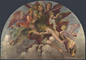 The polyster Canvas of oil painting 'Giulio Romano and Gianfrancesco Penni Saint Mary Magdalene borne by Angels ' ,size: 20 x 28 inch / 51 x 72 cm ,this Cheap but High quality Art Decorative Art Decorative Canvas Prints is fit for Study decor and Home decoration and Gifts