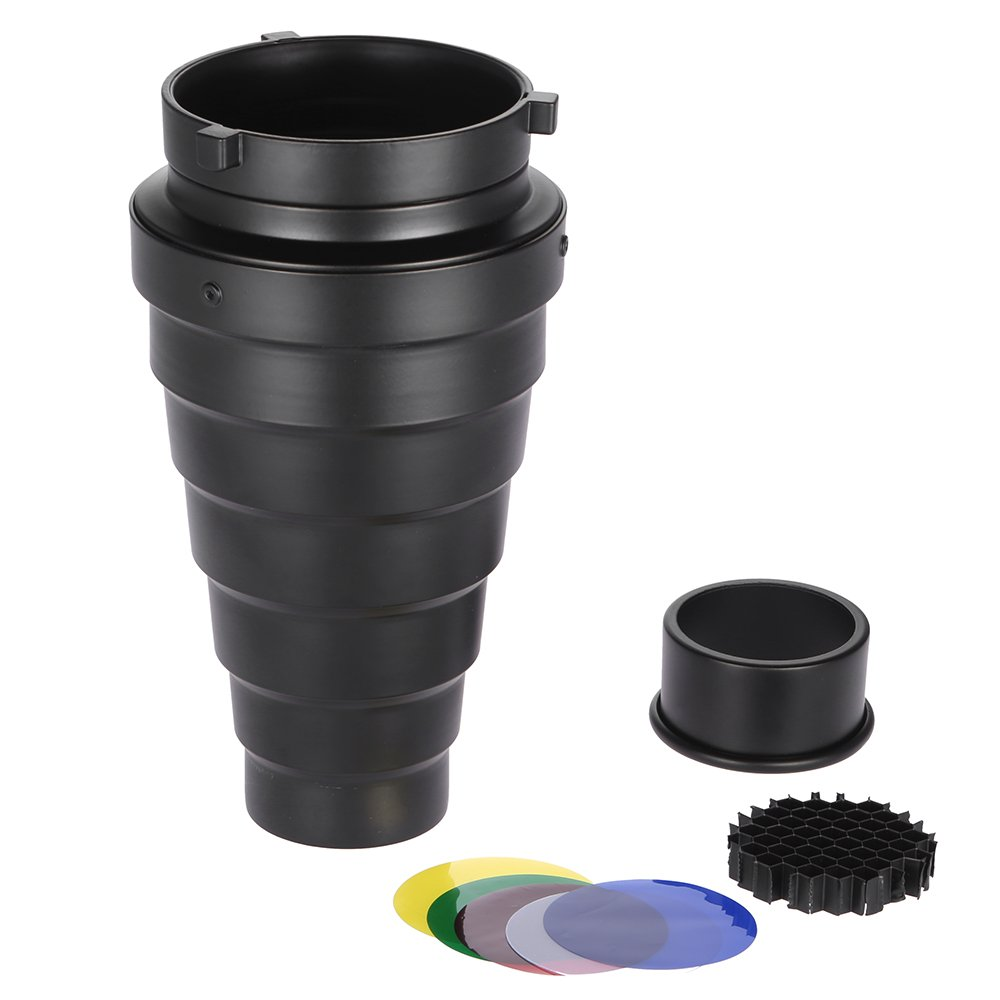 Andoer Metal Conical Snoot Kit with Honeycomb Grid and 5pcs Color Gel Filter for Bowens Mount Studio Strobe Monolight Photography Flash Light by Andoer-1