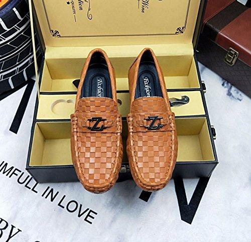 zapatos perezosos fondo de Un Tamaño pie los 38 Negro Color zapatos plano ocio de pedal de Zapatos los de hombres cuero pies zapatos HAOYUXIANG de Marrón de guisantes pies de qxzpwSUO