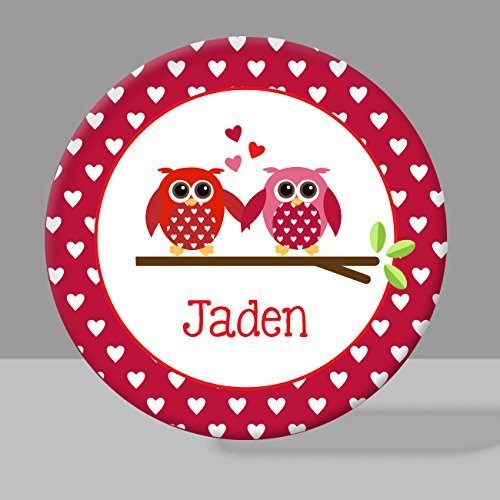Valentine Owls Melamine Bowl or Plate Custom Personalized with Childs Name