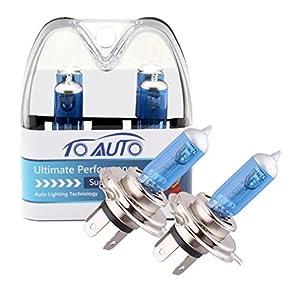 ToAUTO 2 X H4 60W/55W 12V Car Headlight Lamp P43t Halogen Light Super Bright Fog Xenon Bulb White