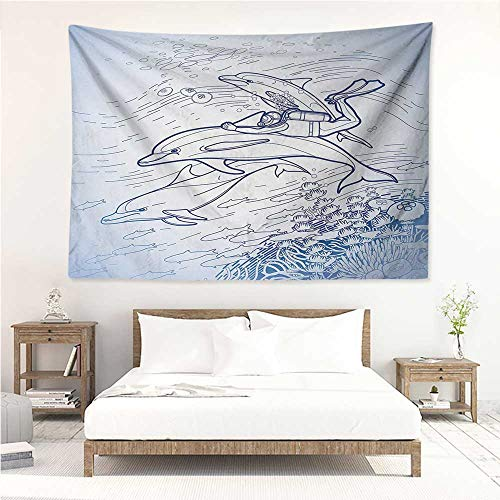 alisos Animals,Wall Tapestry Hanging Sketch of Scuba Diver Holding Fin of Dolphin Over Coral Reefs Fish Underwater 80W x 60L Inch Tapestry for Dorms Multicolor