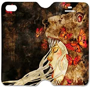 Toppest Iphone 5 5 S Case ,Custom Cover Case for Iphone5 5s ,Plastic Case and High Grade PU Leather Cover,helpless Little Girl Pattern for Iphone 5 5s (helpless Little Girl-12)