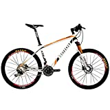BEIOU Carbon Mountain Bike Hardtail MTB SHI Mano M6000 DEORE 30 Speed Ultralight 10.65 kg RT 26 Professional Internal Cable Routing Toray T800 Glossy CB018 (White Orange, 17-Inch)