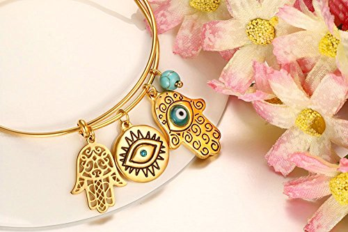 Vnox Stainless Steel Turquoise Hamsa Hand Charm Bangle Bracelet,Gold Plated